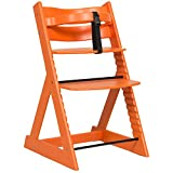 笑顔のダイニングベビーチェアー 木製椅子 安心強度の三角形ベース 【マジカルチェア】 オレンジ色