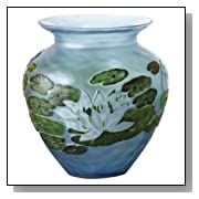 Tozai by Two's Company Water Lily Floral Style Hand Etched Blue Vase