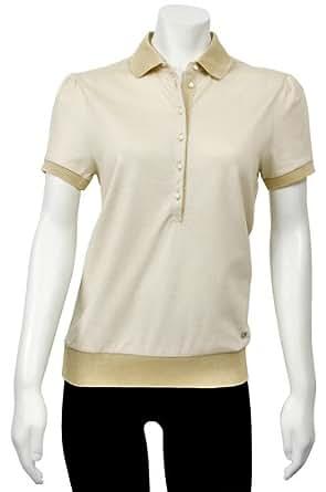 Salvatore ferragamo beige button up polo shirt 11 8546bg for Womens button up polo shirts