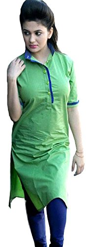 BMR Summer Cool Women's Designer Party Wear Collection Green Plain Cotton Top Dresses Tunic Kurtis Kurta with Chinese Collar ( Free Size )