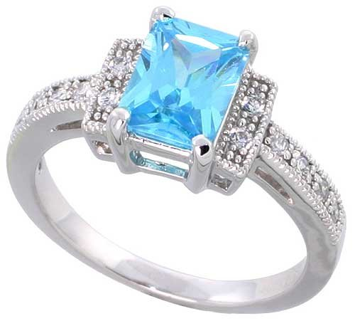 Sterling Silver Vintage Style Engagement ring, w/ an 8 x 6 mm (1.5 ct) Emerald Cut Blue Topaz-colored CZ Stone, 3/16″ (5mm) wide, size 6
