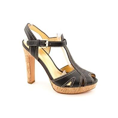 Coach Bianca Womens Size 9 Black Distressed Leather Platforms Sandals Shoes