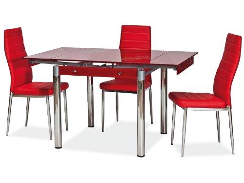 Design-Glastisch-Esstisch-Rainbow-ausziehbar-auf-131cm-mit-Blumenmuster-Rot