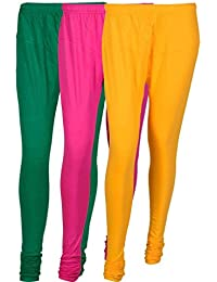 Cotton Leggings (Culture The Dignity Women's Cotton Leggings Combo Of 3_CTDCL_GM1Y_GREEN-MAGENTA-YELLOW_FREESIZE)