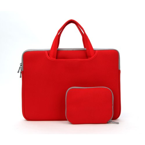 Coodio� Comprehensive 15.6 inch Laptop Sleeve Bag Case Sack Carrying Handbag Briefcase + Accessory Bag for Apple Macbook Pro Retina 15 (Fit all 15.6 inch ultrabook laptop) (Red)