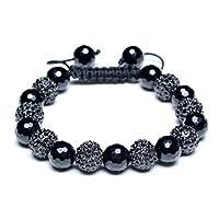 Bling Jewelry Shamballa Inspired Bracelet Unisex Black Simulated Onyx Beads 10mm