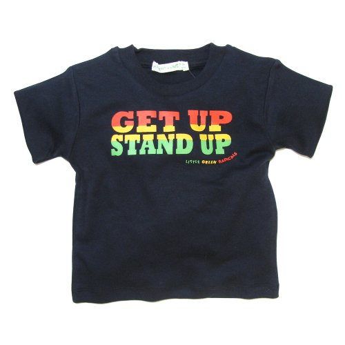 Little Green Radicals organic Fairtrade cotton, Get Up Stand Up T-shirt (Seal Navy)