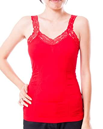 Ladies Red Lace Trimmed Tank Top