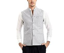 Yell Men's Regular Fit Nehru Jacket (YLWC/907-GREY-XL_Grey_XL)