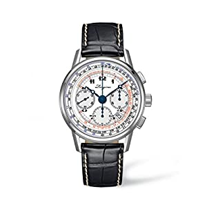 Longines Heritage Tachymeter Men's Automatic Watch with White Dial Chronograph Display and Black Leather Strap L27814132