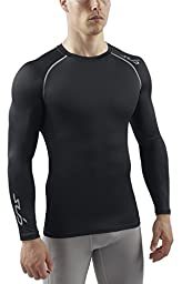 SUB Sports HEAT Stay Cool Mens Semi Compression Top - Long Sleeve Base Layer - Black - M