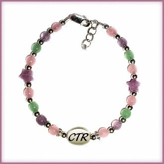 Girls Beautiful sterling silver CTR bracelet for that special occasion featuring beautiful (lavender) amethyst stars and accented with pink and green jade! This is adjustable in length 6-6 1/2