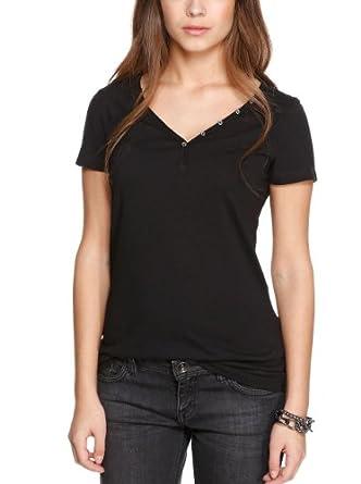 S.Oliver - T-Shirt - Col V - Manches Courtes Femme - Noir - Noir - FR : 42 (Taille Fabricant : 40) (Brand size : Herstellergröße : 40)