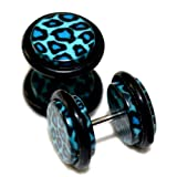 00G = 10mm Blue Leopard Cheetah Print Fake Cheaters Illusion Ear Plugs, 16G = 1.2mm, 1 Pair, Large Size