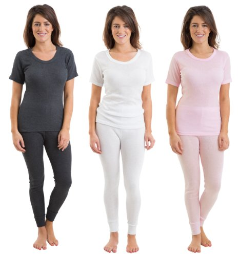 Set Of 3 Colours Womens/Ladies Thermal Underwear Set Short Sleeve Vest & Long Pants Rib Jacquard, Various Sizes
