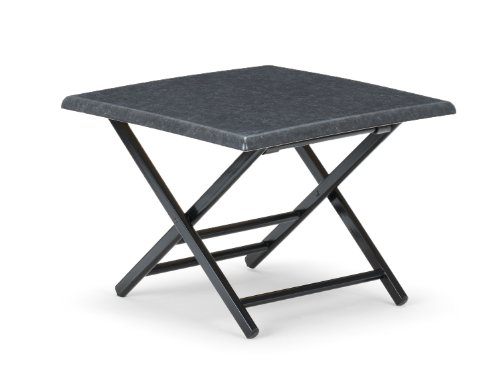Telescope Casual 24-Inch Square Wood Accessory Table, 18-Inch Height, Black Base With Graphite Talc Top
