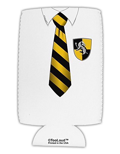 TooLoud Wizard Uniform Yellow and Black AOP Collapsible Neoprene Tall Can Insulator All Over Print