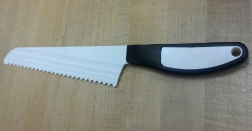 The Cheese Knife Large Serrated Black Handle
