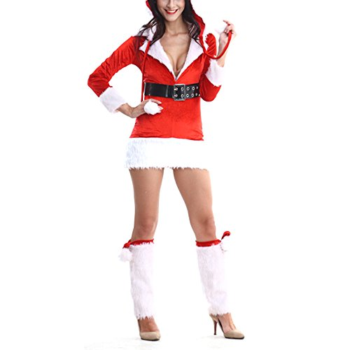 Miss Santa Claus Adult Costume Christmas Red Stretch Velvet Lingerie Fancy Dress