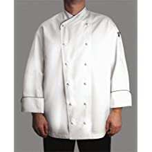 San Jamar J008 Chef-Tex Poly Cotton Corporate Chef Jacket with Black Piping and Cloth Covered Button Style, Medium, White