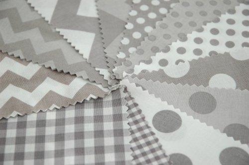 Riley Blake 24 piezas BASIC gris diseño de líneas en zigzag Gingham tela de lunares de pincel doble tela para pulsera de cuadrados de estilo moderno para coser juego de - con lunares - 12,5 x 12,5 cm unidades acolchado unidades (12,7 cm x 12,7 cm)