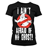 Official Ladies Ghostbusters 'I Ain't Afraid of No Ghost' Logo Black T-Shirt Fitted Tee
