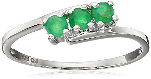 0.27 Carat Genuine Emerald .925 Sterling Silver Ring (Genuine Emerald Ring compare prices)
