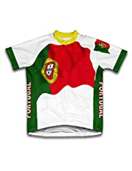 Portugal Flag Short Sleeve Cycling Jersey for Women