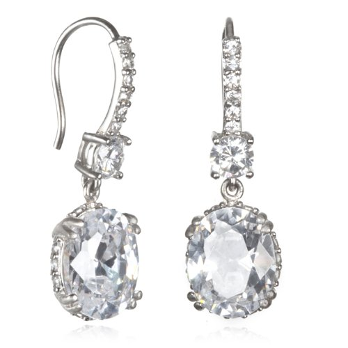 Oval White CZ Sandblast Prong Wire Hook Earring