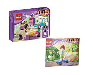 LEGO FRIENDS 3936 Emmas Designstudio und Friends Säckchen 30101 Mia mit Skateboard