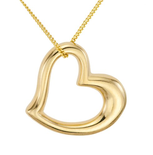 Ladies' Floating Heart Pendant Necklace, Bead Set, 9ct Yellow Gold Curb Chain, 46cm Length, Model 9-BP034