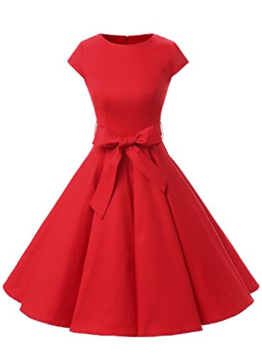 Dressystar Vintage 1950s Polka Dot and Solid Color Prom Dresses Cap-sleeve XS Red