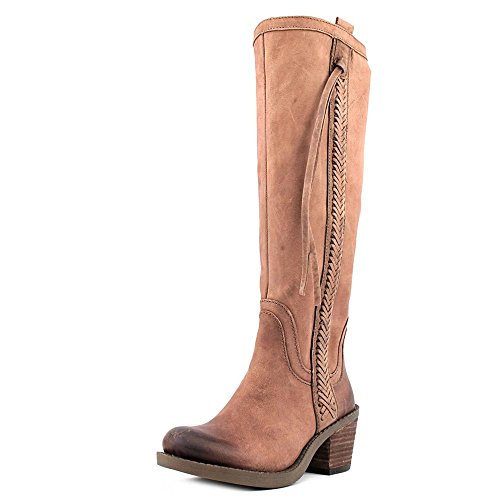 Nine West Women'S Thora Riding Boot,Taupe Leather,5.5 M Us