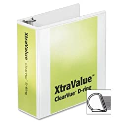 Cardinal® Vinyl Clearvue Xtravalue D-Ring Presentation Binder, 4in Capacity, White