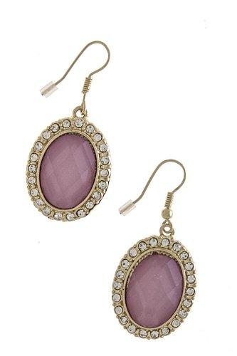 Karmas Canvas Oval Jewel Earrings (Pink) front-1058459
