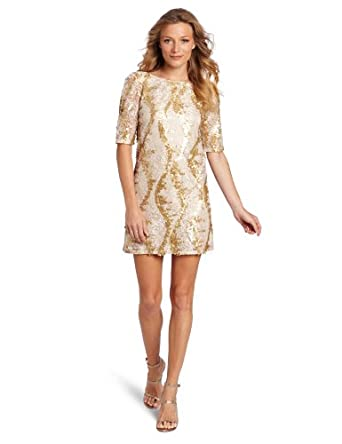Jax Women's Sequin Dress, Gold, 2