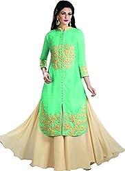 Kaarvaan Women's Silk Unstitched Dress Material(VFP 9008A_Green_FreeSize)