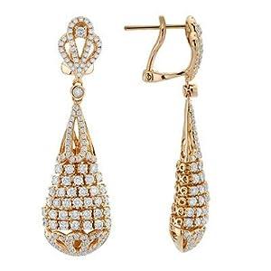 Round Cut Diamond Designer Drop Earrings In 18K Rose Gold