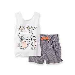 Carter's Baby Girls Sea Life Tank & Shorts Set white/navy (3 Months)