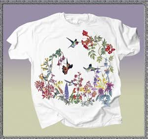 Hummingbird Garden - Unisex Short-sleeve Humming BirdT-shirt - 100% Preshrunk Cotton - available in Small, Medium, Large, X-Large and XX-Large (Large)
