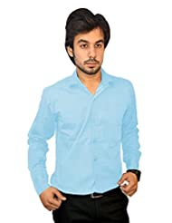 Mc-John Men's Slim Fit Formal Solid Sky Blue Color Cotton Blend Dress Shirt