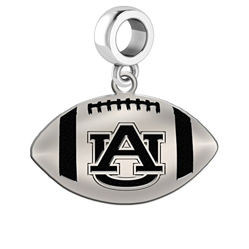 Auburn Tigers Sterling Silver Football Cut Out Drop Charm Fits All European Style Charm Bracelets