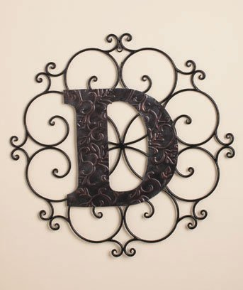 Personalized Metal Embossed Monogram Wall Hanging (D) (D Wall Monogram compare prices)