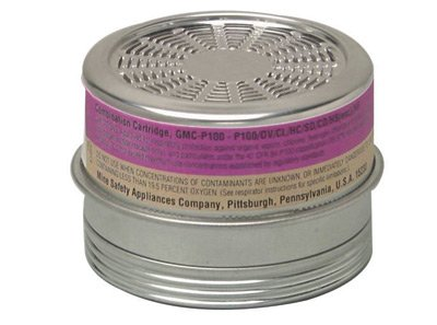 MSA 815180 Organic Vapors/Chlorine/Sulfur Dioxide/Chlorine Dioxide/Hydrogen Chloride/Hydrogen Sulfide/Particulate GMC/P100 Chemical and Combination APR Cartridge For Comfo Respirators (6/EA)