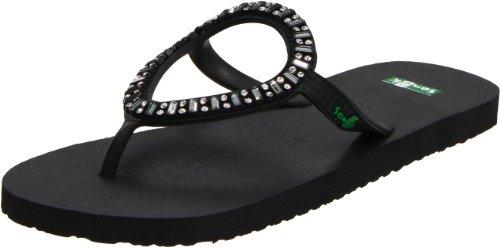 Sanuk Women's Ibiza Monaco Flip Flop Sandal,Black,8 M US