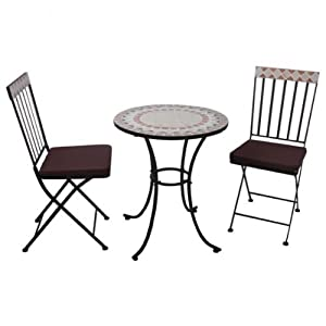 mediterranes balkonset mosaik 5tlg sitzgruppe gartenm bel metall set. Black Bedroom Furniture Sets. Home Design Ideas
