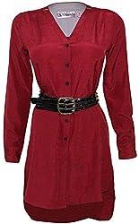 Attuendo Women's Cotton Blend Hi-low Shirt Dress (Medium)