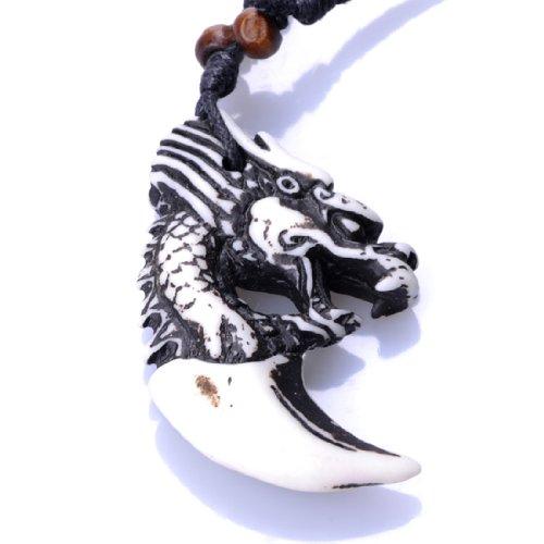 Men's Dragon Head Imitation Yak bone Pendants Necklaces