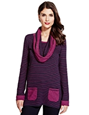 Per Una Cotton Rich Striped Tunic with Detachable Scarf