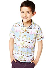 Pure Cotton Hawaiian Print Polo Shirt
